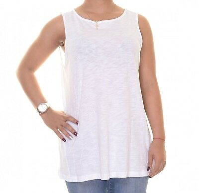 (Large, White) - American Living Women's Sleeveless Back Lace-Panel Top