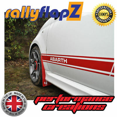 rallyflapZ FIAT 500 ABARTH Garde-boue & Fixations Kit Rouge « Scorp » Blanc
