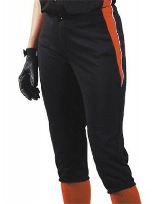 (Large, Black/Orange/White) - Women's Changeup Softball Pant. Teamwork