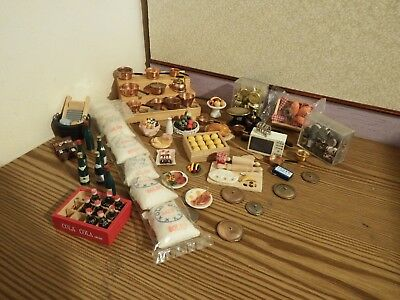 70  dolls house assortment job lot of kitchen  items shop/house  1.12th scale