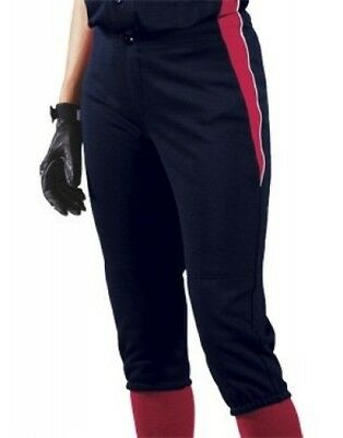 (Large, Navy/Scarlet/White) - Women's Changeup Softball Pant. Teamwork