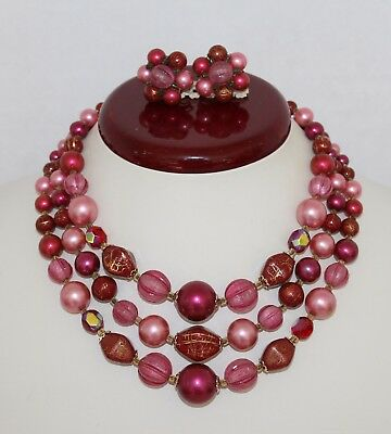 Vintage 1950's Multistrand Cranberry Pink Beaded Necklace / Earrings Set