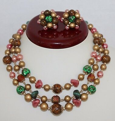 Vintage 1950's Multistrand Autumnal Color Beaded Necklace / Earrings Set