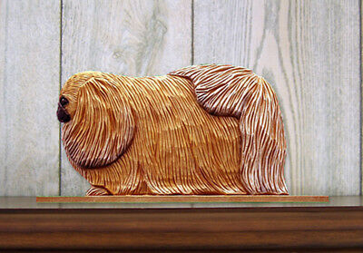 Pekingese Dog Figurine Sign Plaque Display Wall Decoration Sable