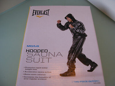 Everlast Black Sweat Hooded Sauna Suit/ Fitness/Training/Boxing/Gym-M/L FREE P&P