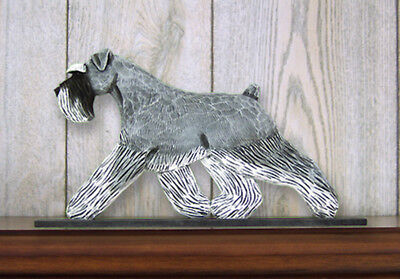 Schnauzer Uncropped Dog Figurine Sign Plaque Display Wall Decoration Salt/Pepper