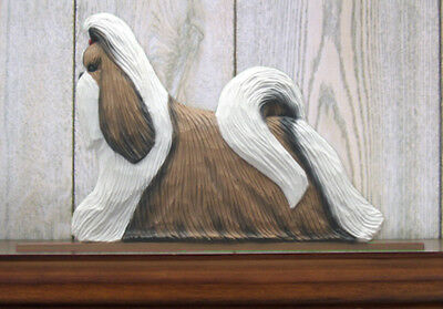 Shih Tzu Dog Figurine Sign Plaque Display Wall Decoration Brown & White