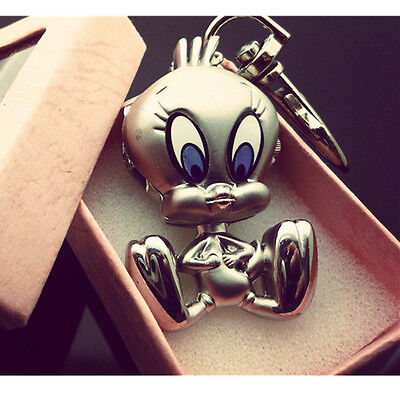 DBS Silver Plated Tweety Bird Key Ring Womens Watch Quartz Gift Accessories