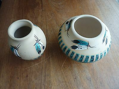 "Native American-style Navajo Vases Turquoise Decoration by ""Marilyn"" Wiley"