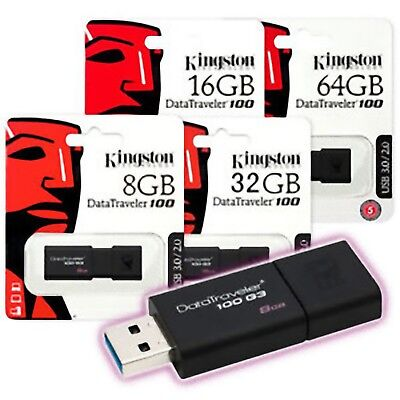 Pendrive Kingston Dt100G3 8 16 32 64 128 Pennetta Usb 3.0 Memoria Chiavetta