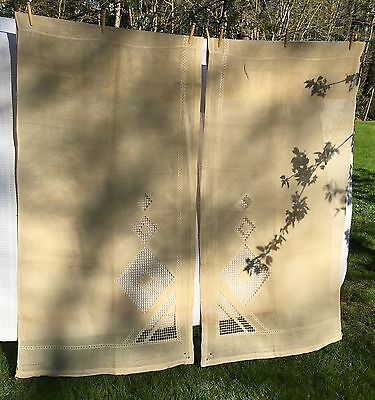 Heavy Antique Curtains Pulled Thread Embroidered 2 Panels Curtain Pair A03-010