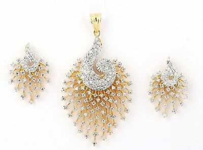 Bollywood indian Trend Gold Plated American Diamond Pendant Set