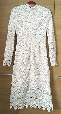 Vintage Style White lace Dress lolita victoriana Size 10, Wedding Bridesmaid