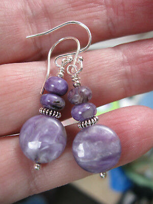 Beautiful purple Charoite and Sterling Silver earrings
