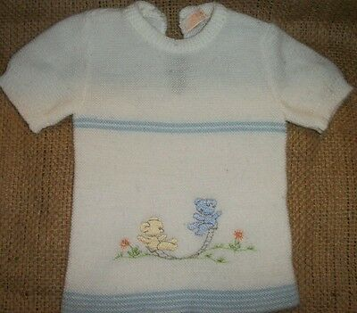 Vintage Renzo Italy White & blue Knit Infant Baby Sweater Teddy bear embroider