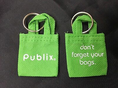 "Mini Reusable Shopping Bag PUBLIX  ""Don't Forget Your Bags"" Keychain NOS NEW VTG"