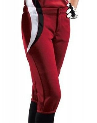 (Small, scarlet/black/white) - Women's Sweep Softball Pant. Teamwork