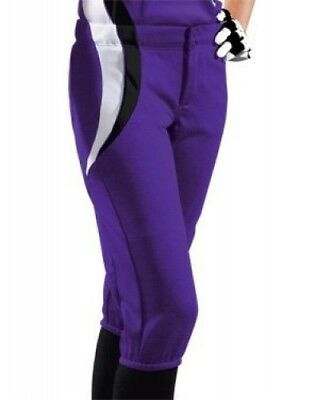 (Medium, Purple/Black/White) - Women's Sweep Softball Pant. Teamwork