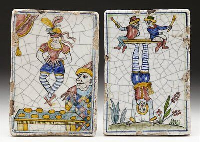 Rare Pair Antique Italian Maiolica Tiles With Entertainers Early 19Th C.