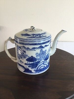 Chinese Porcelain Canton Blue And White Tea Pot