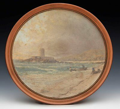 ANTIQUE WATCOMBE PAINTED PLATE ST BRELADES BAY JERSEY c.1885