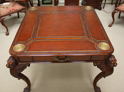 Beautiful Mahogany Ball and Claw Carved games table with Genuine Leather top