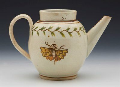 Unusual Antique Miniature Prattware Insect Painted Teapot 18Th C.