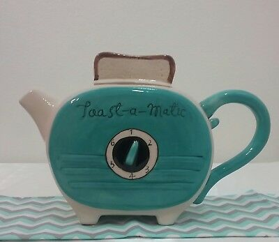 Blue Sky ceramics  Blue green retro toaster  Teapot New collectable vintage look