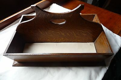 Oak Divided Cutlery Box with Carrying Handle - Very Good Condition - Nice Piece