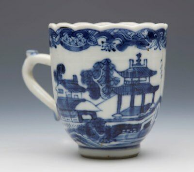 Antique Chinese Qing Blue & White Moulded Cup 18Th C.