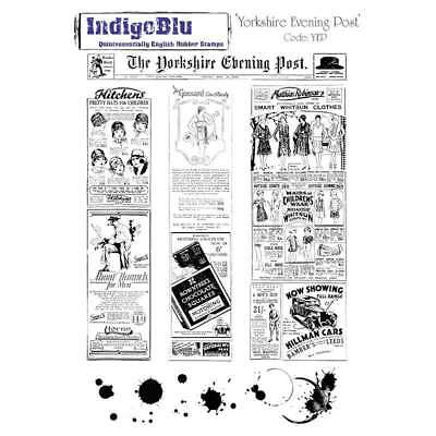 """IndigoBlu Cling Mounted Stamp 9""""X6.5"""" Yorkshire Evening Post 608641990058"""
