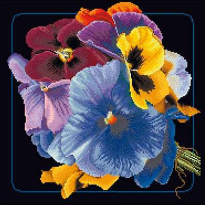 """Pansies On Aida Counted Cross Stitch Kit 13.25""""X13.25"""" 18 Count 499994655301"""