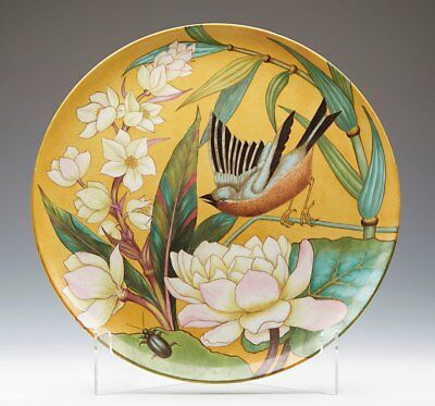 ANTIQUE KERR & BINNS ART POTTERY CHARGER WITH FINCH & BEETLE c.1852-62