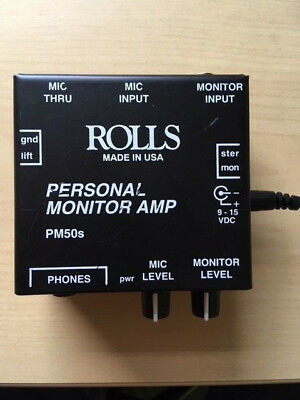 Rolls PM50s Personal Headphone Monitor Amp with power supply unit. USED.