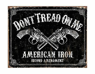 Don't Tread on Me Tin Metal Sign American Iron Second Amendment 16 by 12.5 in...