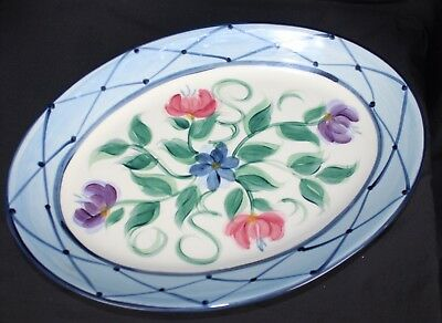 Gail Pittman Annabella Pottery 1995 Lattice Floral Serving Platter Plate Dish
