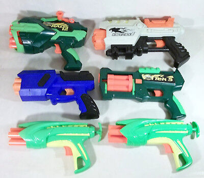 Lot of 6 Buzz Bee and Other Dart Blaster Guns Rads 12 Tek 5 Wind Attack 8