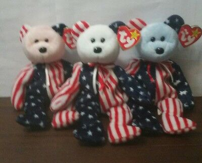 TY Beanie Babies - SPANGLE the Bears (Set of 3 - Pink, White & Blue Heads) 1999