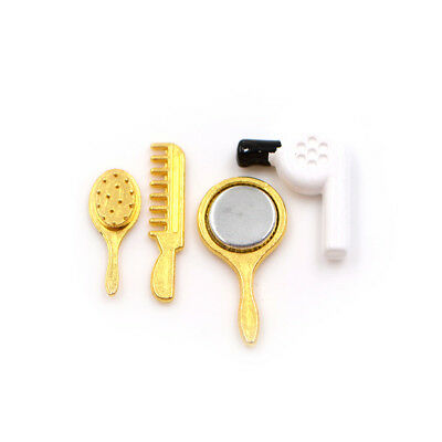 1/12 Doll House Miniature Accessory Hair Dryer Comb Mirror Set Hot EC