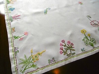 Vintage Stunning Hand Embroidered Tablecloth, SPRING BORDER, Irish linen