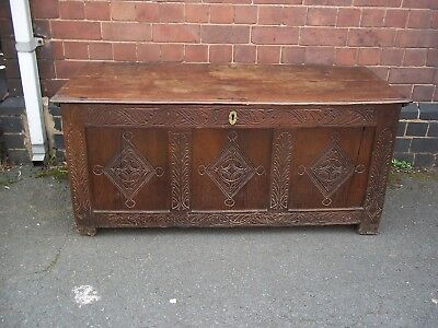 Antique Oak 3 panel Coffer 18th Century