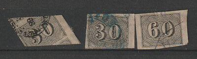 Brazil 1850 Numberal stamps mis cut on the first one, used