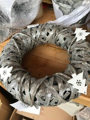 Christmas Glitter Birch wreath garland, slilver with christmas trees