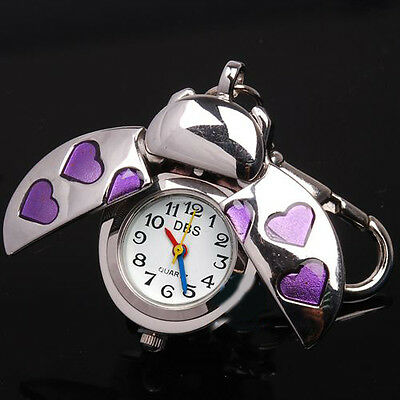 Beetle Purple Heart Key Ring Womens Watch Quartz Accessories Montres