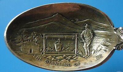 The Starting of a Mine,Colorado Mine Camp Sterling silver Mining Souvenir Spoon