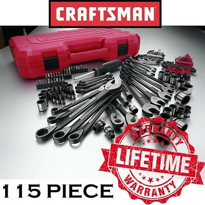 New CRAFTSMAN 115 Piece Universal Mechanics Tool Set CASE Alloy Steel Metric SAE