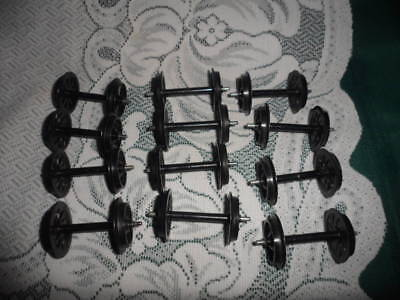 Lot of 12 G SCALE Train parts Car Wheel sets with disc wheels