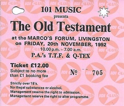 Old Testament - Rave Flyer / Ticket 1992 - Time Frequency, Q-TEX PAs