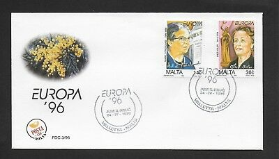 Malta First Day Cover, 1996 Europa Famous Women Stamp Set Used