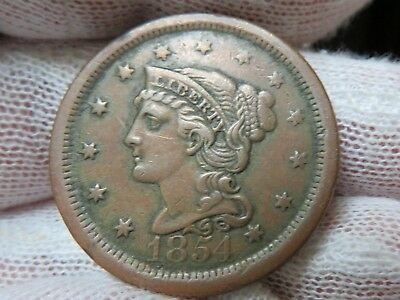 1854 Braided Hair U.S. Large Cent, and free shipping